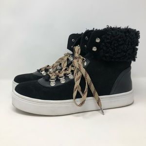 Sam Edelman Luther Black Leather Shearling Bootie